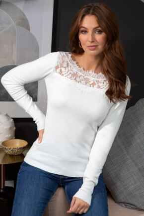 Lace Insert Compact Ecovero Knit Jumper - Ivory