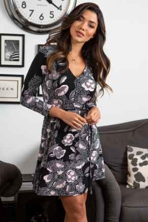 Bella Slinky Recycled Jersey Long Sleeve Tea Dress - Mono Floral