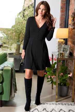 Bella Slinky Recycled Jersey Long Sleeve Tea Dress - Black