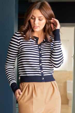 Breton Stripe Knit Cardigan - Navy/White