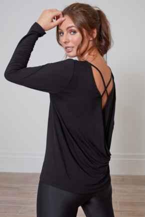 Cross Back Jersey Yoga Top - Black