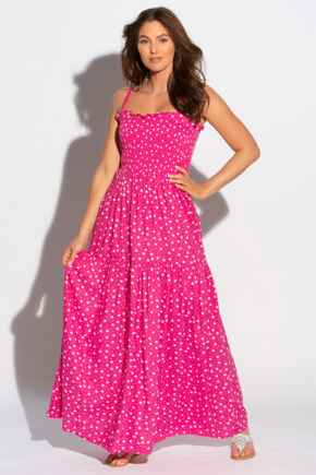 Removable Straps Tiered Skirt Maxi Dress - Pink/White