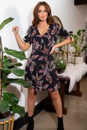 Bella Slinky Recycled Jersey Tie Sleeve Tea Dress - Black Floral