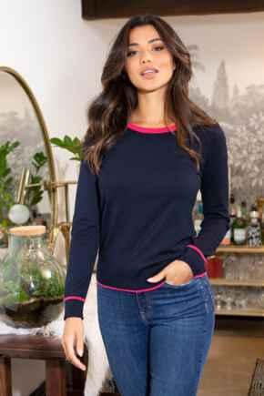 Rosie Colourblock Ecovero Knit Jumper - Navy
