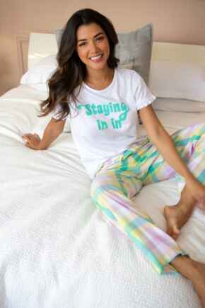 Staying In Cotton Jersey T-shirt & Check Trouser Pyjama - White/Multi