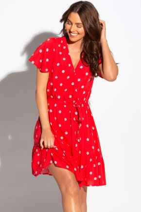 Wrap Front Tiered Woven Beach Dress - Red/Pink