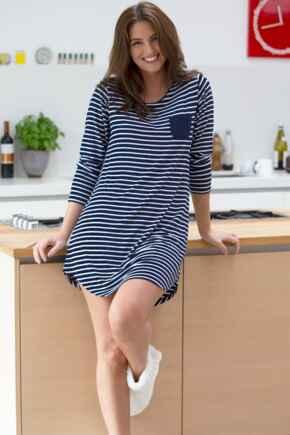 Jersey Stripe Long Sleeve Secret Support Nightdress - Navy/White