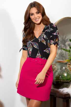 Ava Belted Woven Skirt - Bright Pink