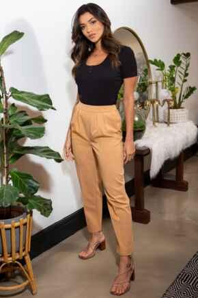 Ava Elasticated Woven Straight Leg Trouser - Camel