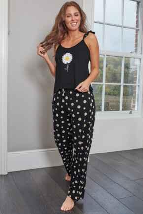 Daisy Love Cotton Jersey Cami & Trouser Pyjama - Black