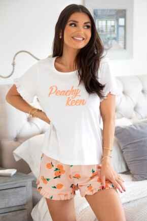 Peachy Keen Cotton Jersey T-Shirt & Short Pyjama - Peach