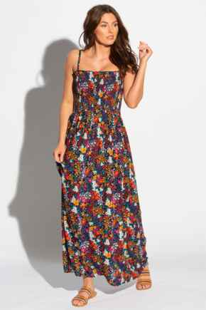 Removable Straps Shirred Bodice Maxi Dress - Navy Floral