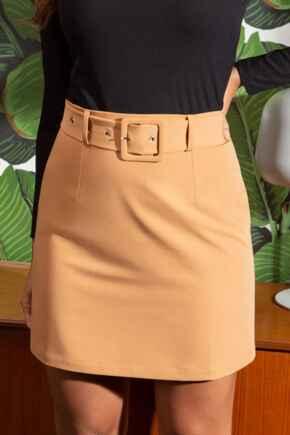 Ava Belted Woven Skirt - Camel