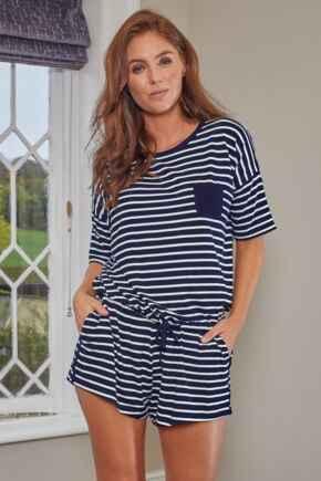 Stripe Jersey Short Pyjama Set - Navy/White