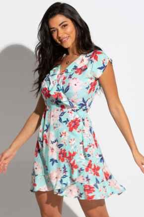 Textured Woven Wrap Beach Dress - Aqua Floral