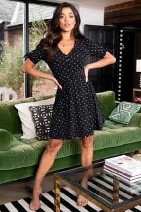 Bella Slinky Recycled Jersey Tie Sleeve Tea Dress - Black Spot