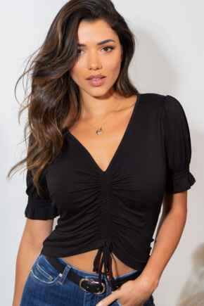 Tilly Jersey Ruche Front Crop Top - Black
