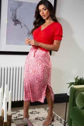 Margot Woven Midi Slip Skirt - Red/Pink Animal