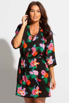 Woven Elasticated Waist Beach Cover Up - Black Floral