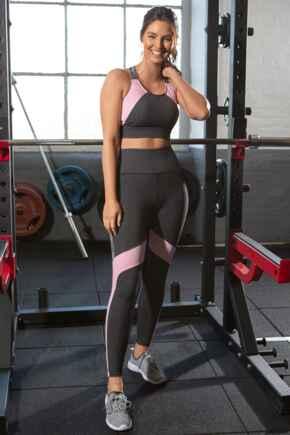 Energy Logo Elastic Legging - Grey Melange/Pink