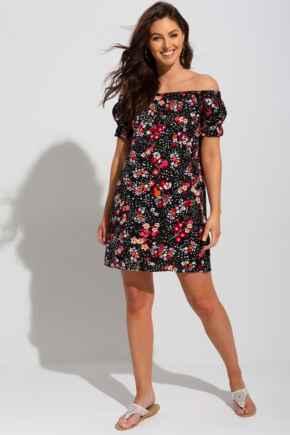 Textured Woven Bardot Puff Sleeve Beach Dress - Black Floral