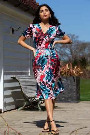 Margot Woven Satin Midi Tea Dress - Multi Tropical