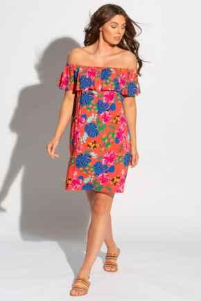 Woven Bardot Beach Dress - Red Floral