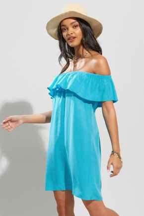 Textured Woven Bardot Beach Dress - Bright Aqua