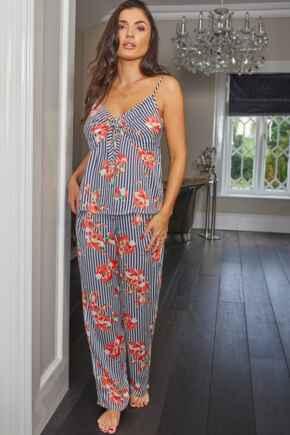 Luxe Woven Tie Front Cami & Trouser Pyjama Set - Blue Stripe
