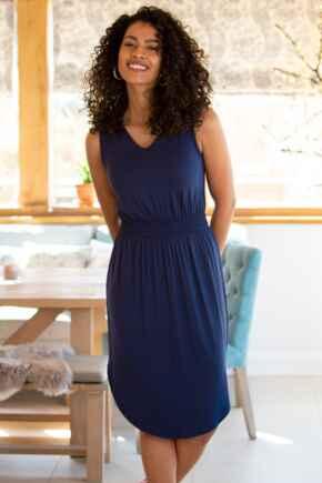Jenny Shirred Waist Midi Jersey Dress - Navy
