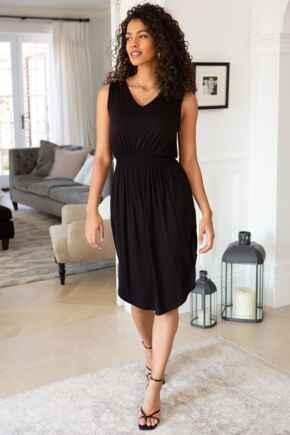 Jenny Shirred Waist Midi Jersey Dress - Black