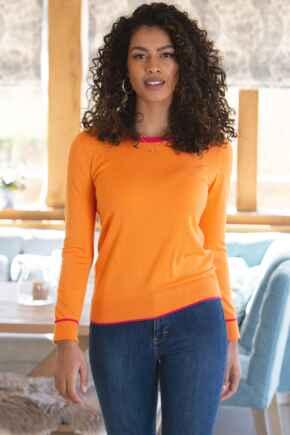 Rosie Colourblock Ecovero Knit Jumper - Orange