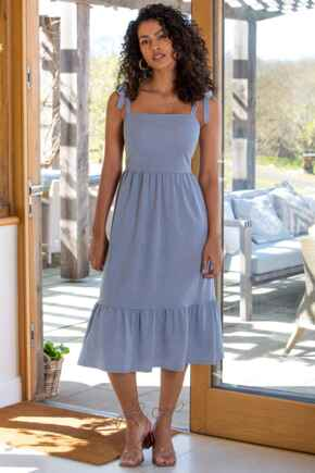 Laura Pique Tie Strap Tiered Maxi Dress - Denim Blue