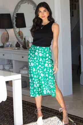 Margot Woven Midi Slip Skirt - Green Floral