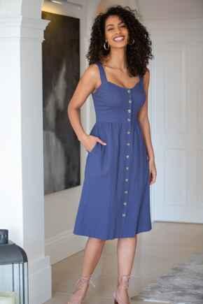 Linen Blend Button Front Sun Dress - Navy