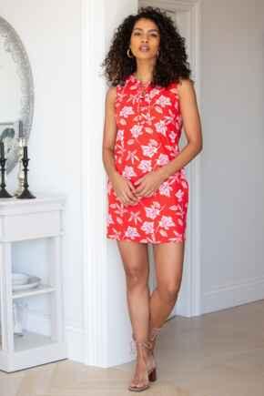 Linen Blend Shift Dress - Red Floral