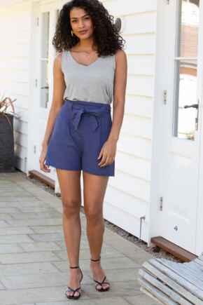 Linen Blend Tie Waist Shorts - Navy