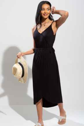 Jersey Midi Wrap Dress - Black