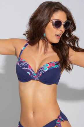 Positano Lightly Padded Underwired Top - Navy/Paisley