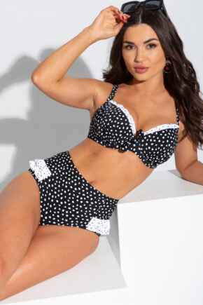 Hot Spots High Waisted Control Brief - Black/White