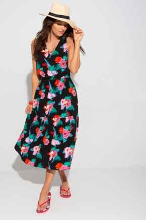 Woven V Neck Tiered Midi Beach Dress - Black Floral