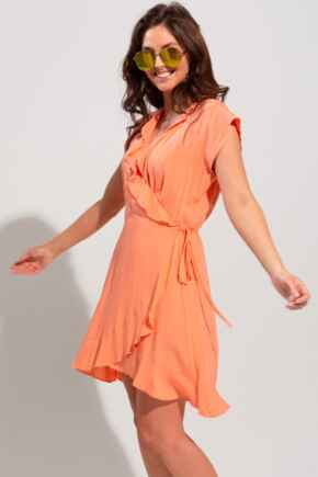 Textured Wrap Woven Beach Dress - Watermelon