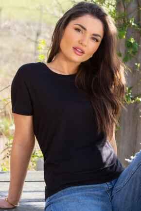 Sophie Round Neck Jersey T-Shirt - Black