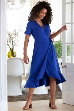 Megan Slinky Recycled Jersey Frill Detail Midi Wrap Dress - Cobalt