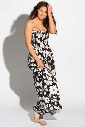 Removable Straps Shirred Bodice Maxi Dress - Mono Floral