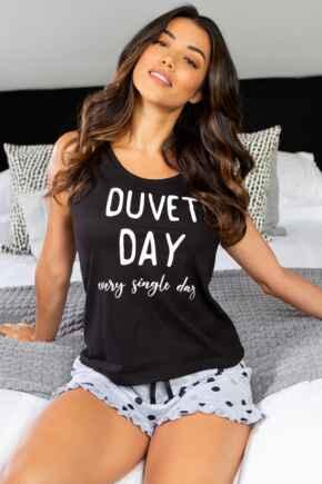 Slogan Cotton Jersey Vest & Short Pyjama Set - Grey/Black