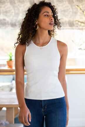 Arianna Rib Jersey Cropped Tank Top  - White
