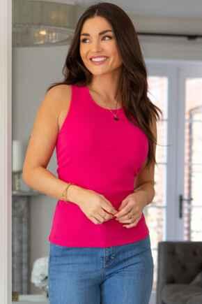 Arianna Rib Jersey Cropped Tank Top  - Bright Pink