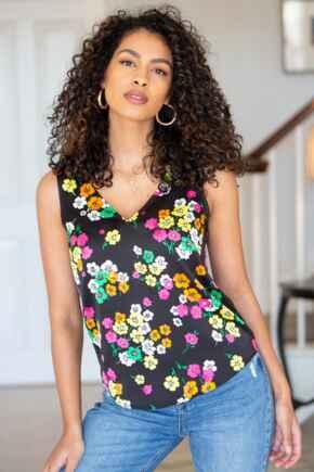 Margot Satin Woven V Neck Vest  - Black Floral