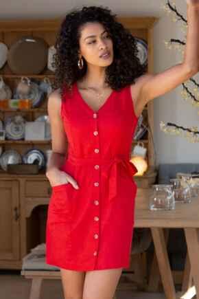 Lola Linen Blend Button Front Dress  - Red